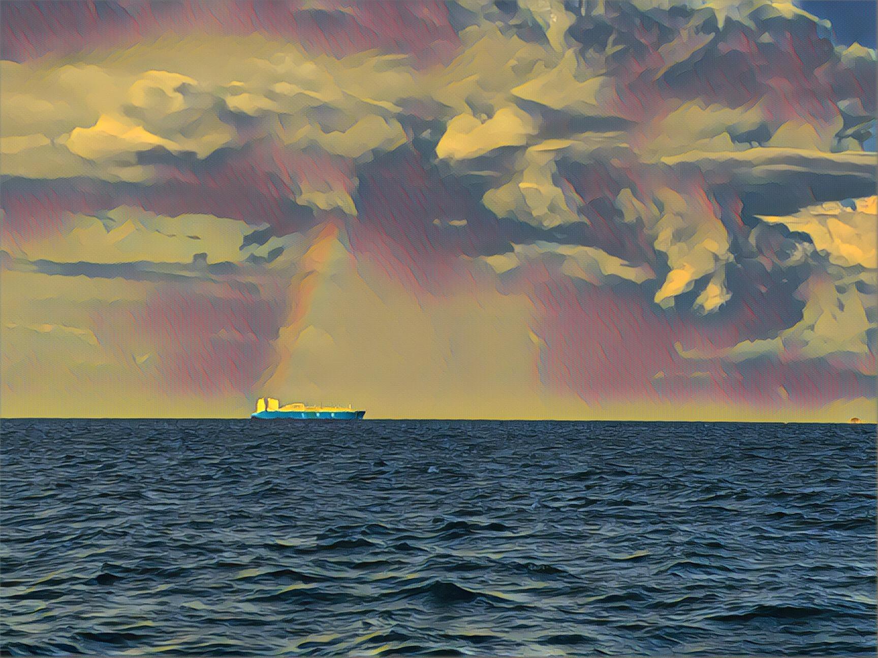 Rainbow on a ship